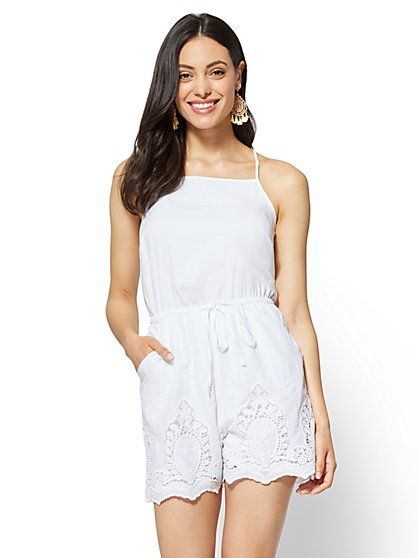 Lace-Trim Halter Romper - New York & Company
