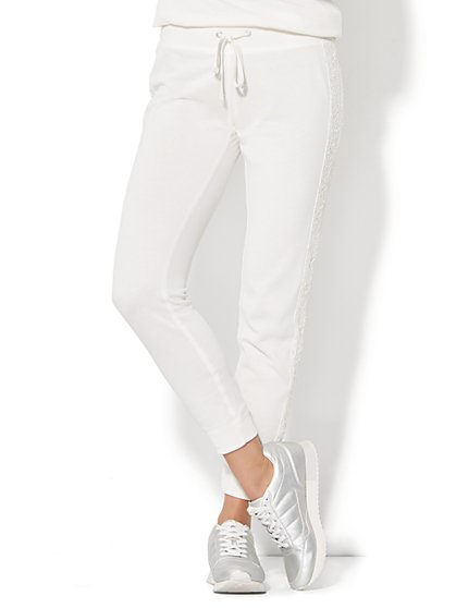 Lace-Trim Jogger - Winter White - New York & Company