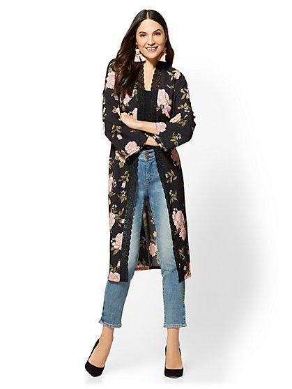 Lace-Trim Kimono Jacket - Floral - New York & Company