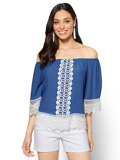 Lace-Trim Off-The-Shoulder Blouse - New York & Company