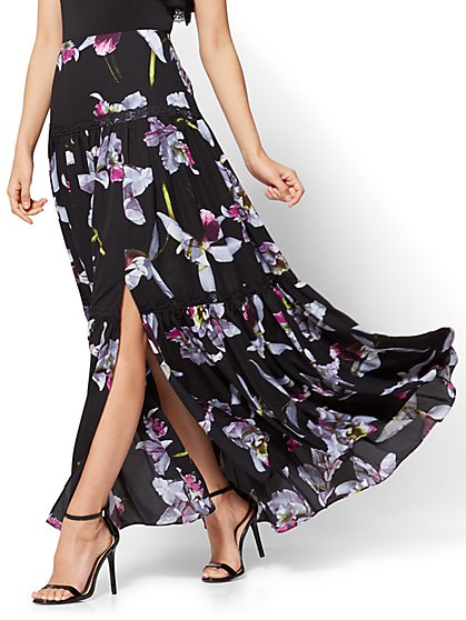 Lace-Trim Ruffled Maxi Skirt - New York & Company