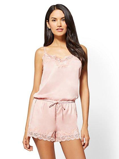Lace-Trim Satin Pajama Romper - New York & Company