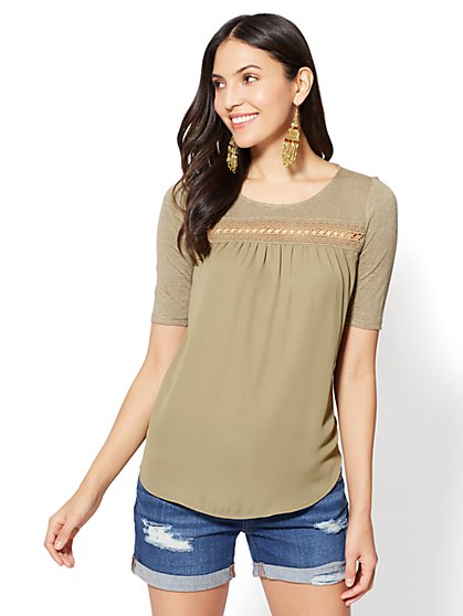 Lace-Trim Scoopneck T-Shirt - New York & Company