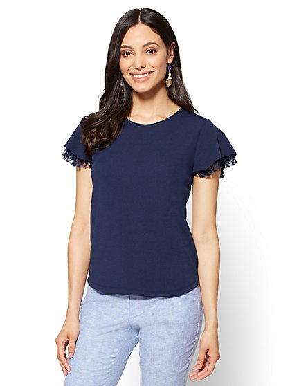 Lace-Trim Scoopneck Top - New York & Company