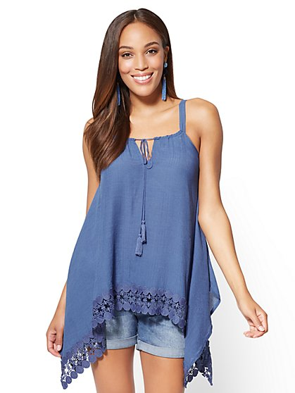 Lace-Trim Sharkbite Tank Top - New York & Company