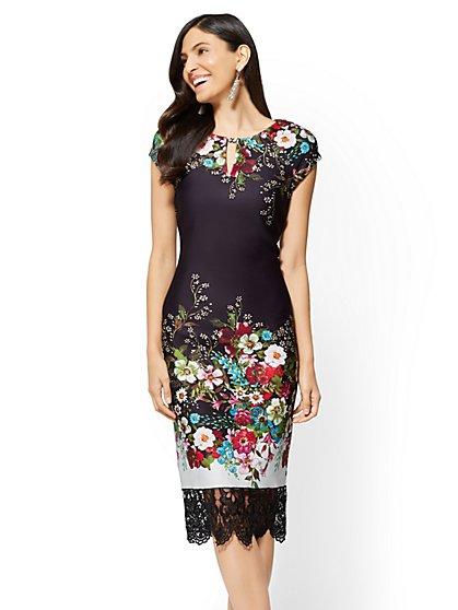 Lace-Trim Sheath Dress - Floral - New York & Company
