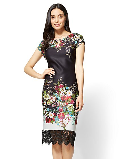Lace-Trim Sheath Dress - Floral - New York & Company