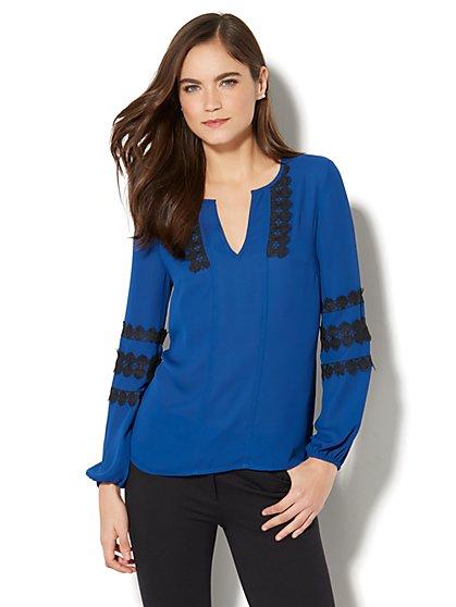 Lace-Trim Split-Neck Blouse - New York & Company