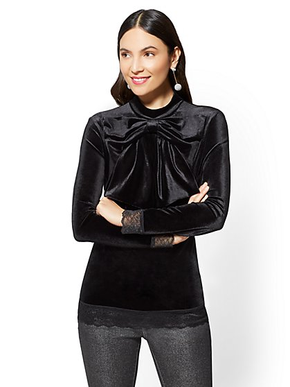 Lace-Trim Velvet Bow Top - New York & Company
