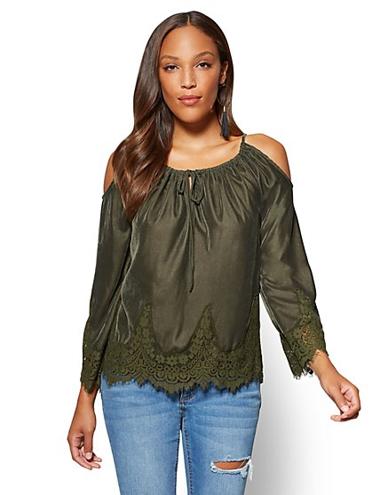 Lace-Trim Velvet Cold Shoulder Top - New York & Company
