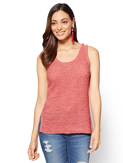 Lace-Up Back Knit Tank Sweater - New York & Company