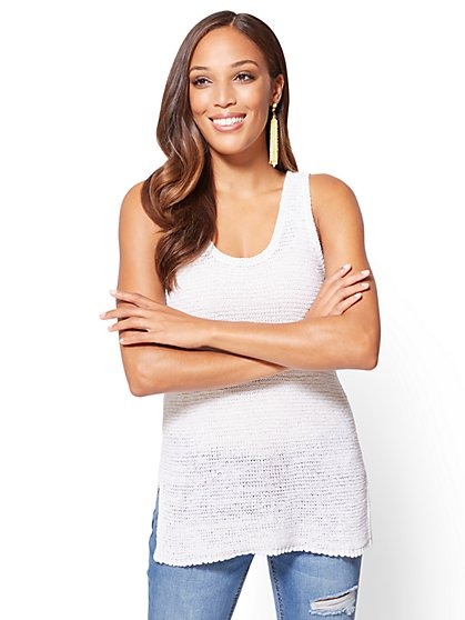 Lace-Up Back Knit Tank Top - New York & Company