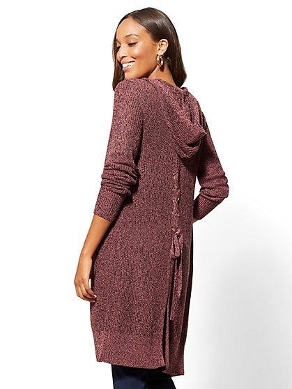 Lace-Up Back Marled Duster Cardigan - New York & Company