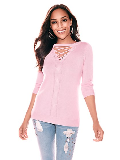 Lace-Up Cable-Knit Sweater - Pink - New York & Company