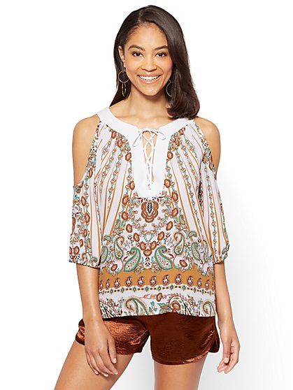 Lace-Up Cold Shoulder Blouse - Paisley - Petite - New York & Company
