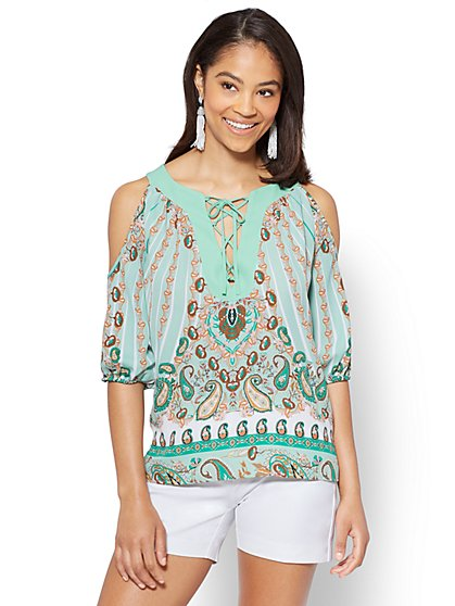Lace-Up Cold Shoulder Blouse - Paisley - New York & Company