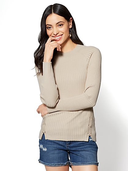 Lace-Up Crewneck Sweater - New York & Company