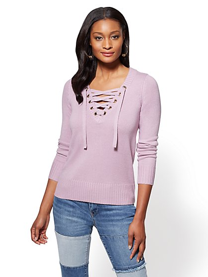 Lace-Up Grommet V-Neck Sweater - New York & Company