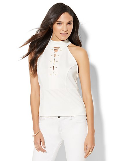 Lace-Up Halter Top - New York & Company