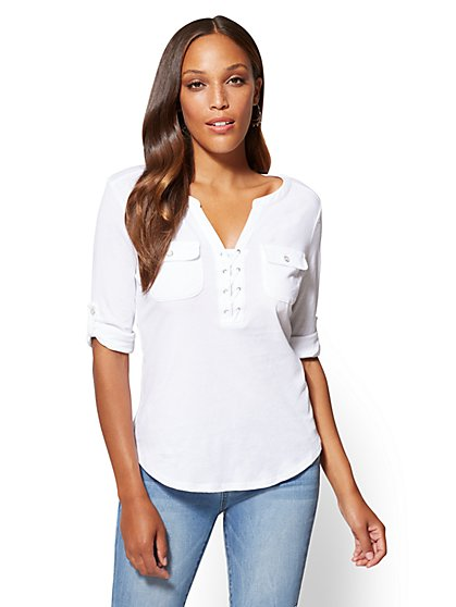 Lace-Up Henley Top - New York & Company