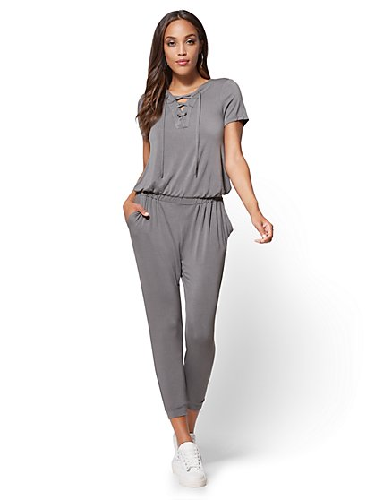 Lace-Up Jumpsuit - New York & Company