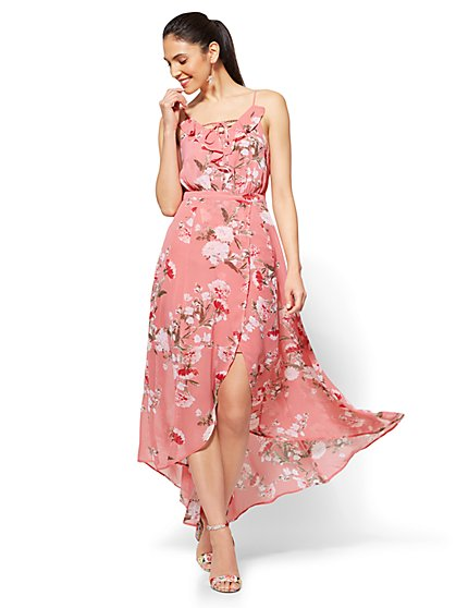Lace-Up Maxi Dress - Pink Floral - New York & Company