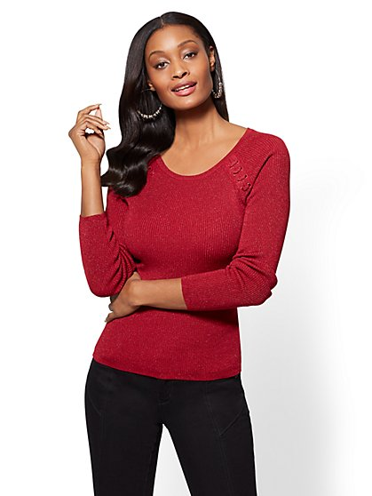 Lace-Up Metallic Scoopneck Sweater - New York & Company