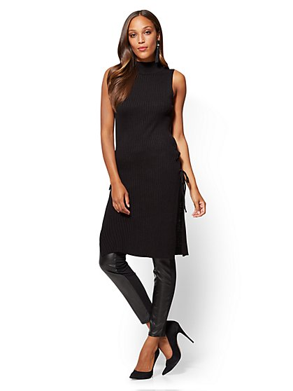 Lace-Up Mock-Neck Tunic Sweater - New York & Company