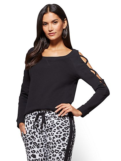 Lace-Up Open-Sleeve Top - Black - New York & Company