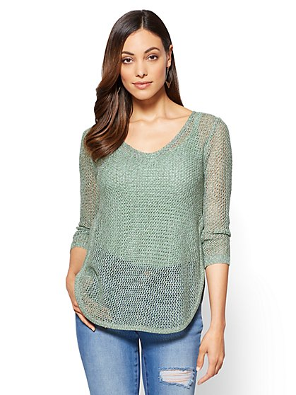 Lace-Up Open-Stitch Sweater - New York & Company