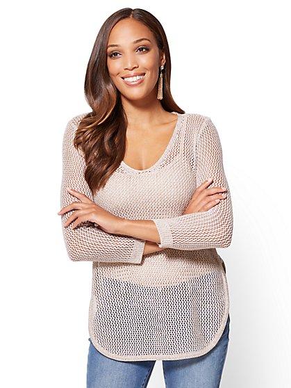 Lace-Up Open-Stitch Sweater - New York & Company