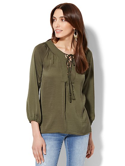 Lace-Up Peasant Blouse - New York & Company