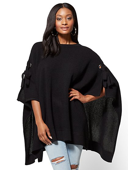 Lace-Up Poncho - New York & Company