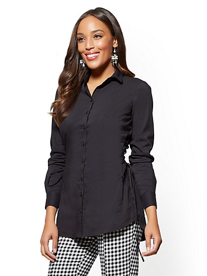 Lace-Up Poplin Tunic - New York & Company