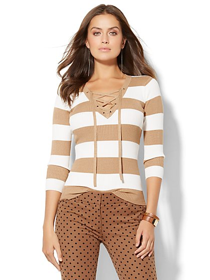 Lace-Up Ribbed-Knit Pullover Sweater - Stripe  - New York & Company