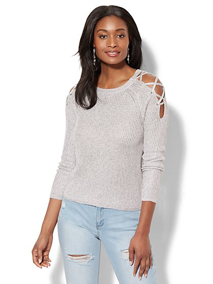 Lace-Up Ribbed-Knit Sweater - New York & Company