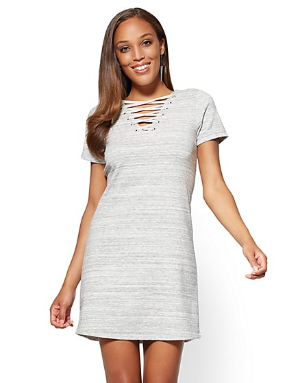 Lace-Up Shift Dress - Space Dye - New York & Company