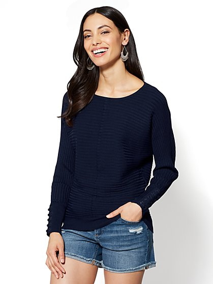 Lace-Up Sleeve Dolman Sweater - New York & Company