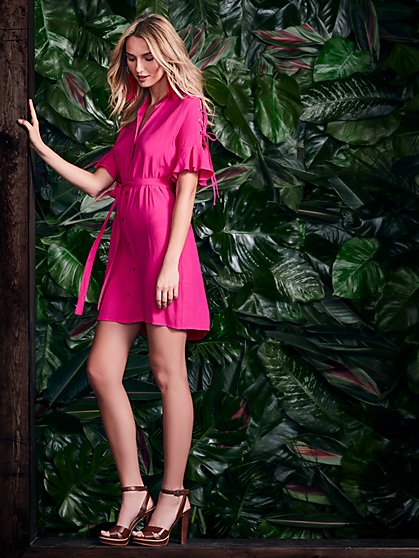 Lace-Up Sleeve Shirtdress - Pink - New York & Company