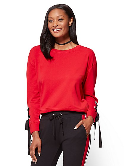 Lace-Up Sleeve Sweatshirt  - New York & Company