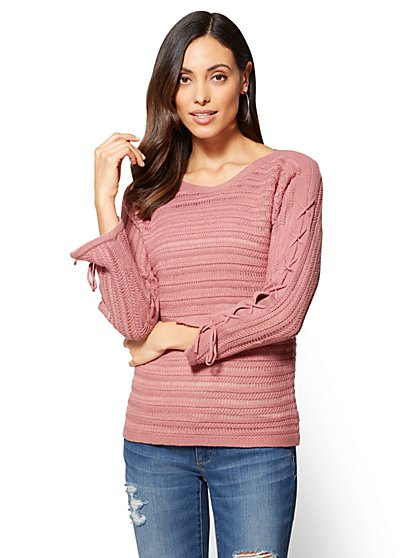 Lace-Up Sleeve Textured Sweater - New York & Company