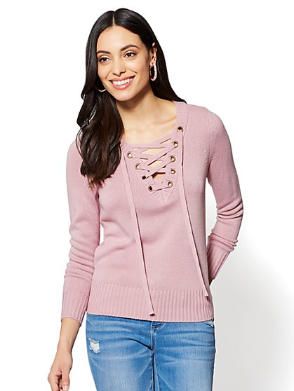 Lace-Up Sweater - New York & Company