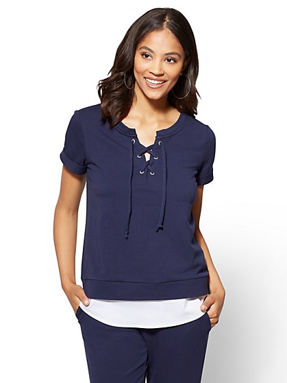 Lace-Up Twofer Top - Navy - New York & Company