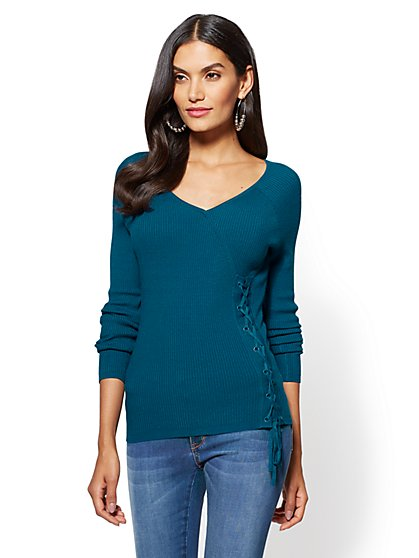 Lace-Up V-Neck Silhouette - New York & Company