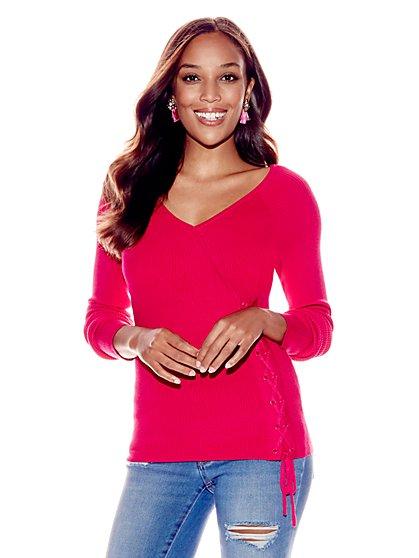 Lace-Up V-Neck Sweater - New York & Company