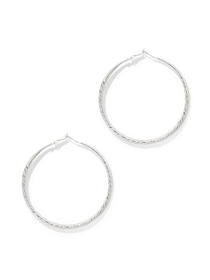 Large Textured Hoop Earring  - New York & Company