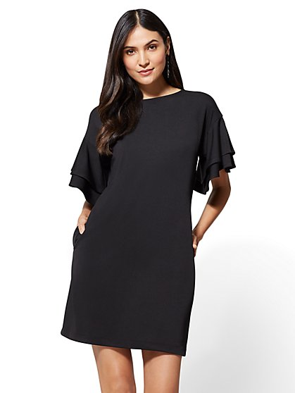 Layered Bell-Sleeve Shift Dress - New York & Company