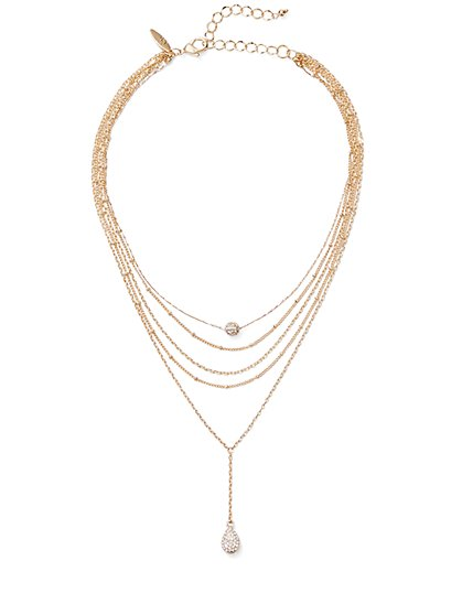 Layered Choker Pendant Necklace  - New York & Company