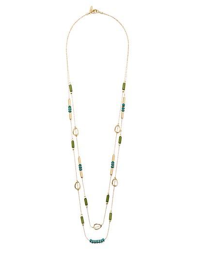 Layered Double-Row Beaded Necklace  - New York & Company