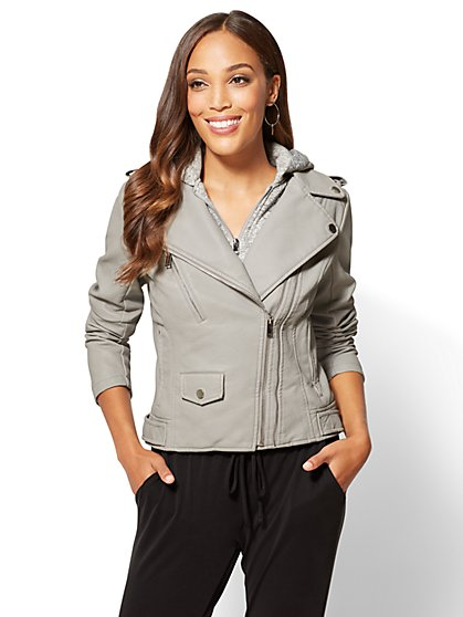 Layered Faux Leather Moto Jacket - New York & Company